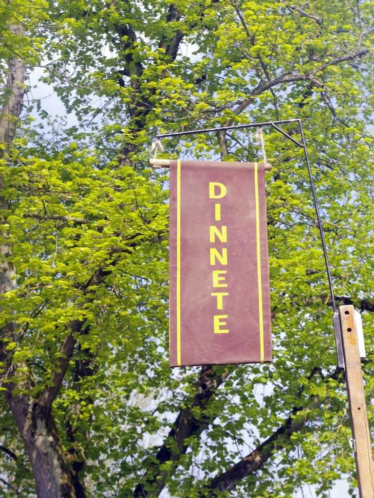 schild mit dinnete banner mit grünem hintergrund